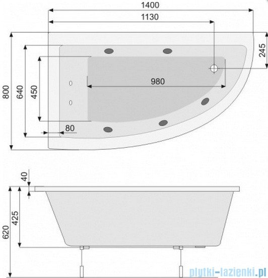 Poolspa Wanna asymetryczna LAURA 140x80 lewa + hydromasaż Smart 2 PHANH10ST2C0000