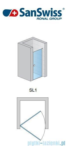 SanSwiss Swing Line SL1 Drzwi jednoczęściowe 90cm profil biały SL109000407