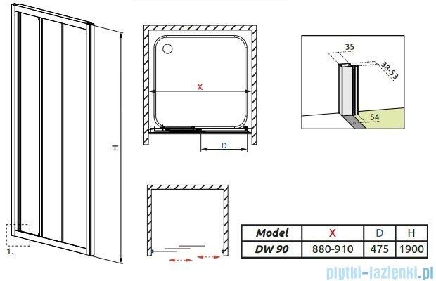 Radaway Treviso DW Drzwi wnękowe 90 szkło brązowe 32303-01-08N