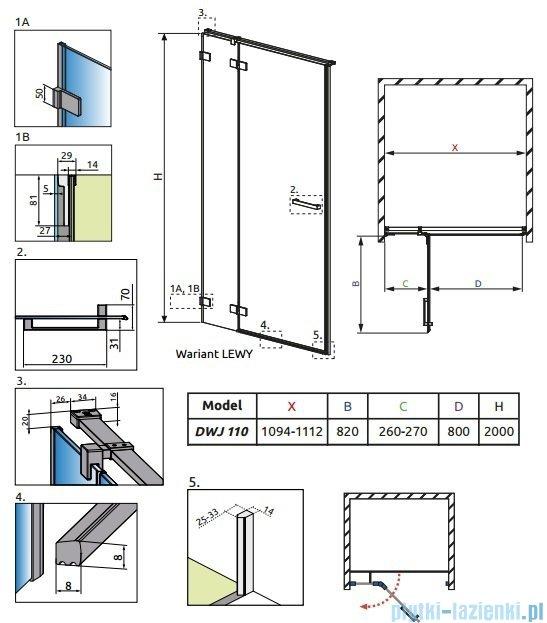 Radaway Euphoria DWJ Drzwi wnękowe 110 lewe szkło przejrzyste 383015-01L