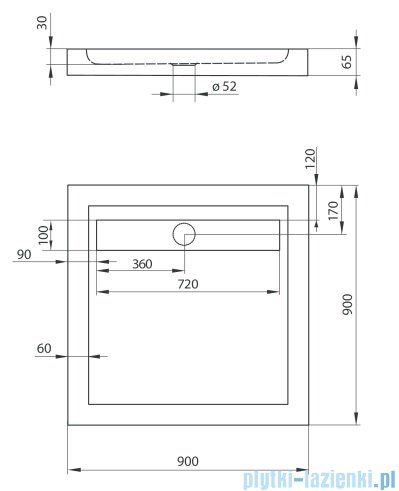 Deante Minimal brodzik kwadratowy z odpływem liniowym 90x90 cm KTM 041B
