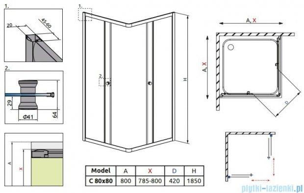 Radaway Classic C Kabina prysznicowa kwadratowa z drzwiami przesuwnymi 80x80 szkło przejrzyste 30060-01-01