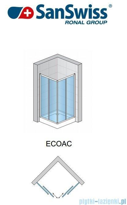 SanSwiss Eco-Line Wejście narożne Eco 80cm profil biały szkło przejrzyste Prawe ECOD08000407