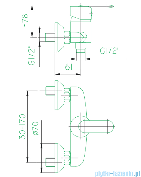 KFA CYRKON bateria natryskowa chrom  586-010-00