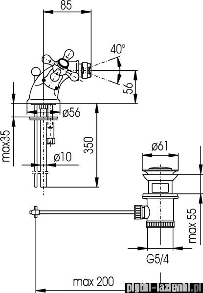 KFA RETRO-CLASSIC bateria bidetowa CHROM   387-325-00