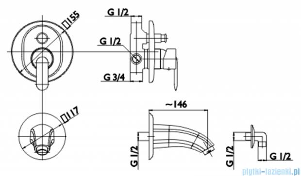 KFA CYRKON bateria wannowa podtynkowa (element sterujący), kolor CHROM 589-410-00
