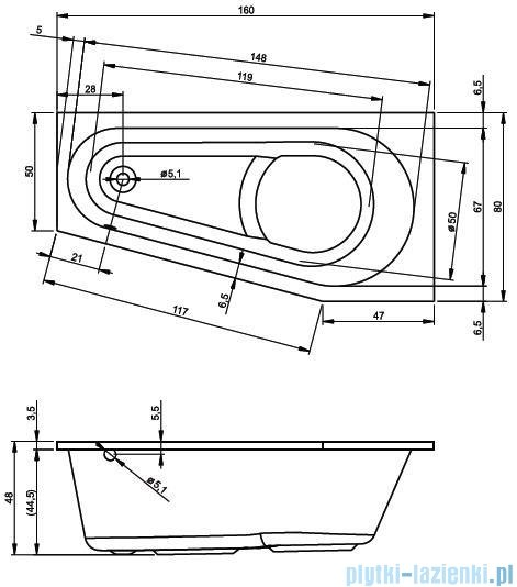 Riho Delta wanna asymetryczna 160x80cm lewa BB83