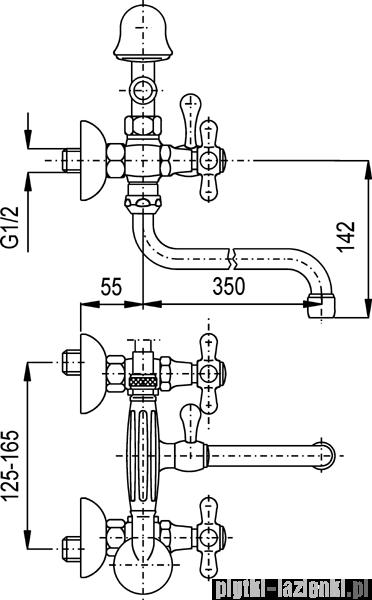 KFA RETRO bateria wannowo-umywalkowa, długość wylewki L = 350 mm CHROM 374-148-00