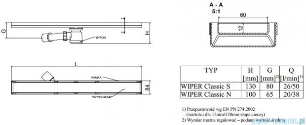 Wiper Odpływ liniowy Classic Tivano 100cm bez kołnierza poler T1000PCS100