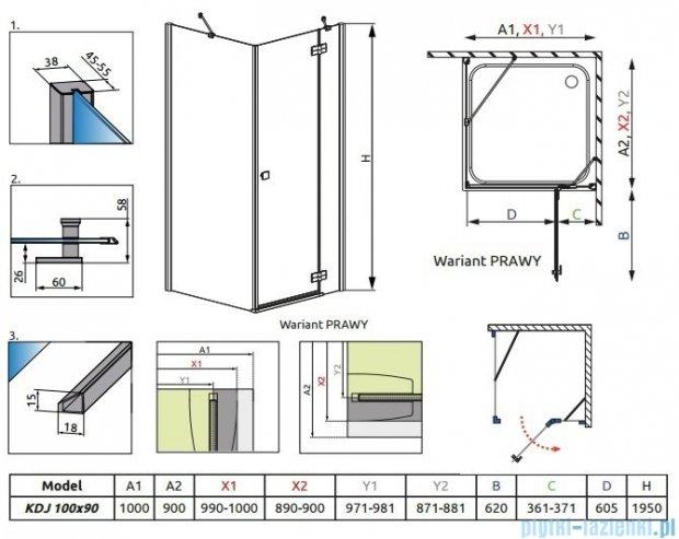 Radaway Kabina prysznicowa Almatea KDJ 100x90 prawa szkło grafitowe 32143-01-05NR