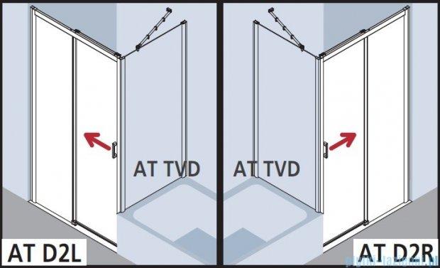 Kermi Atea Drzwi przesuwne bez progu, prawe, szkło przezroczyste, profile białe 150x185 ATD2R150182AK
