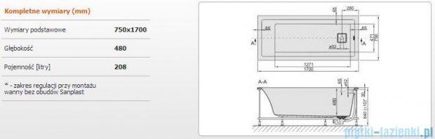 Sanplast Space Line Wanna prostokątna+stelaż WP/SPACE 170x75+sp, 610-100-0160-01-000