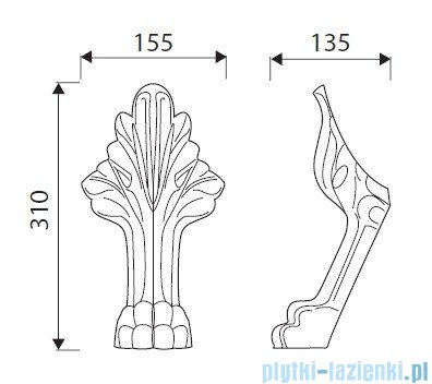 Marmorin Fama Osłony nóg do wanny laminat białe 56601601