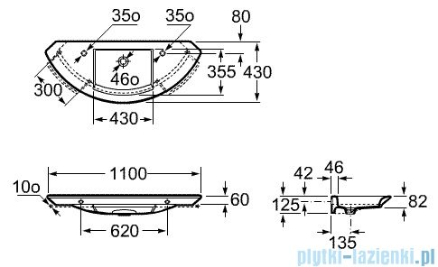 Roca Mohave Umywalka ścienna 110x43cm z otworem na baterię powłoka Maxi Clean A3278790MH