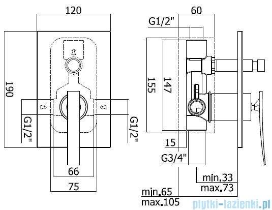 Paffoni Fonte Elys Mieszacz podtynkowy kompletny z przełącznikiem chrom ELY015CR