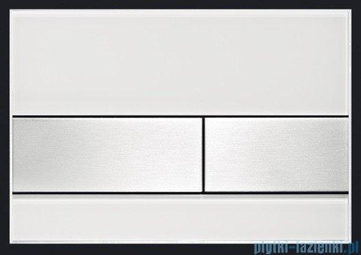 Tece Przycisk spłukujący ze szkła do WC Tecesquare szkło białe przyciski stal szczotkowana 9.240.801