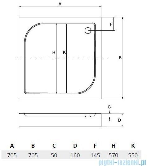 Sea Horse brodzik prysznicowy 70x70cm kwadratowy BKB002/Q