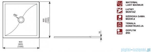 Aquaform Versus brodzik kwadratowy 80x80x3cm 06936