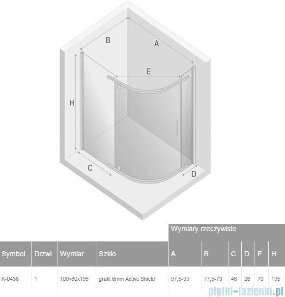 New Trendy New Komfort kabina asymetryczna 100x80x195cm grafit K-0438