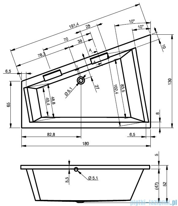 Riho Doppio wanna asymetryczna 180x130 prawa z hydromasażem PRO Hydro 6+6 BA90P6