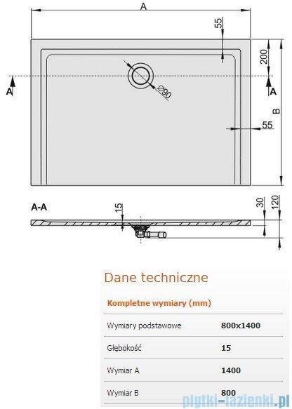 Sanplast Brodzik prostokątny Space Mineral 140x80x1,5cm + syfon 645-290-0370-01-000