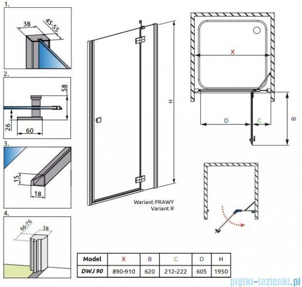 Radaway Almatea DWJ Drzwi wnękowe 90 Prawe szkło przejrzyste + Brodzik Delos C 90 + syfon 31102-01-01N
