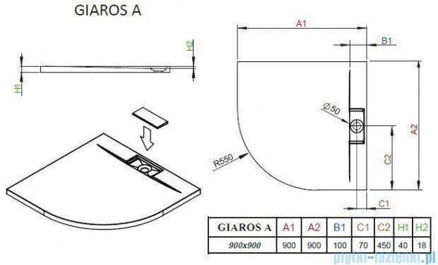 Radaway Giaros A Brodzik półokrągły 90x90cm MKGA9090-03