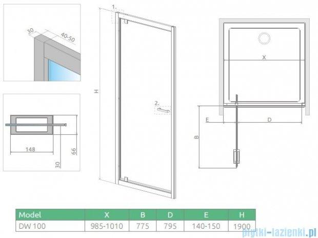Radaway Twist DW Drzwi prysznicowe 100x190 szkło brązowe 382003-08