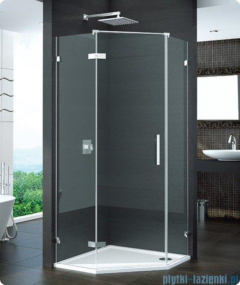 SanSwiss Pur PUR51 Drzwi 1-częściowe do kabiny 5-kątnej 45-100cm profil chrom szkło Efekt lustrzany Lewe PUR51GSM21053