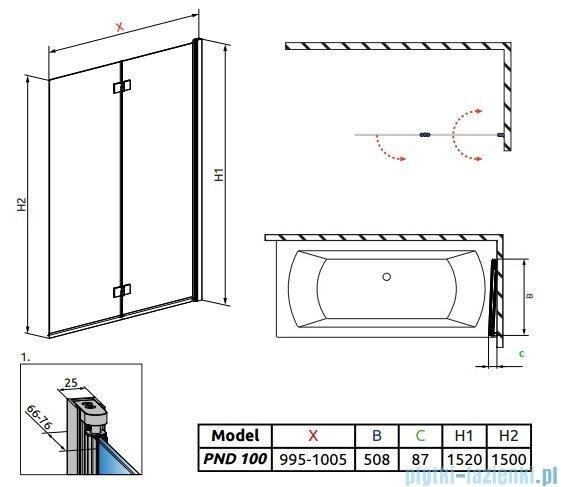 Radaway Essenza New Pnd parawan nawannowy 100cm prawy szkło przejrzyste 207210-01R