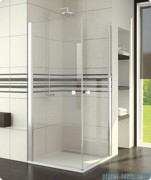 SanSwiss Swing-Line Sle1 Wejście narożne jednoczęściowe 80cm profil połysk szkło przejrzyste Lewe SLE1G08005007