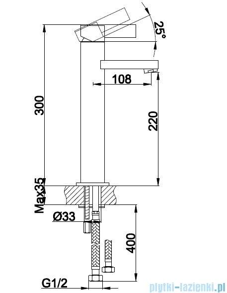 Kohlman Dexame bateria umywalkowa wysoka QB170D
