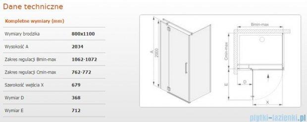Sanplast kabina narożna prostokątna lewa przejrzysta KNDJ2L/AVIV-80x110 80x110x203 cm 600-084-0150-42-401