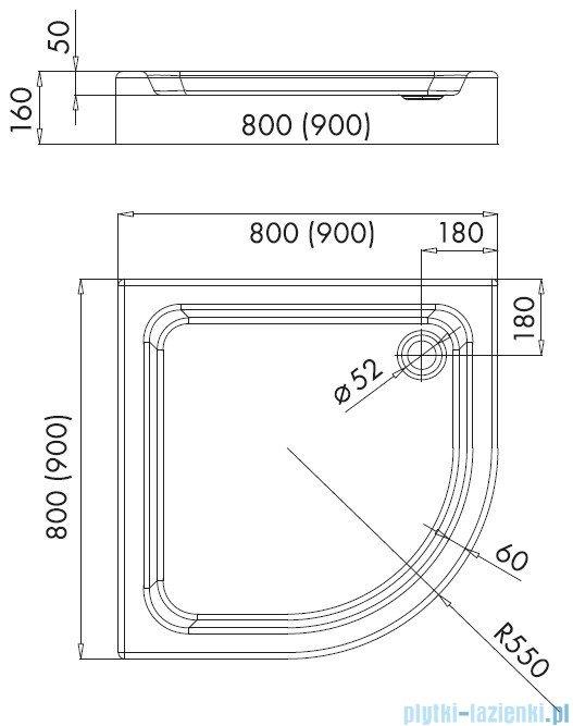 Schedpol Eko 2.0 brodzik akrylowy półokrągły 90x90x16cm R55 3.323