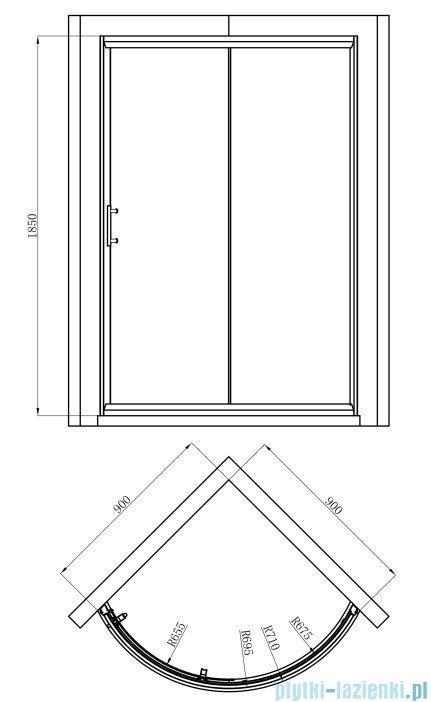 Omnires Health kabina 1-skrzydłowa lewa JK22 90x90x185cm szkło przejrzyste JK2209LC2L