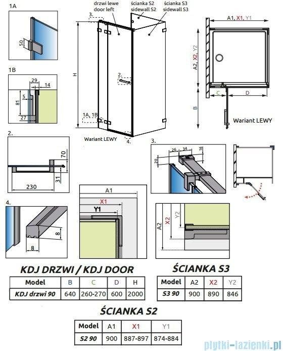 Radaway Euphoria KDJ P Kabina przyścienna 90x90x90 lewa szkło przejrzyste 383044-01L/383030-01/383035-01