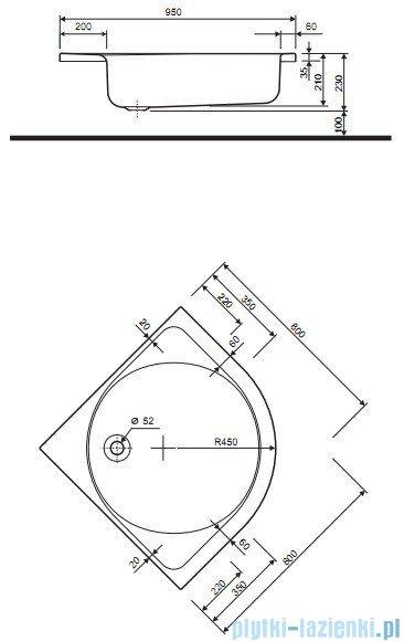 Koło Głęboki Brodzik 80x80cm półokrągły XBN0380000