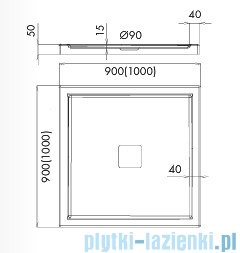 Schedpol Latina brodzik kwadratowy z klapką odpływu 100x100x5cm 3.4218