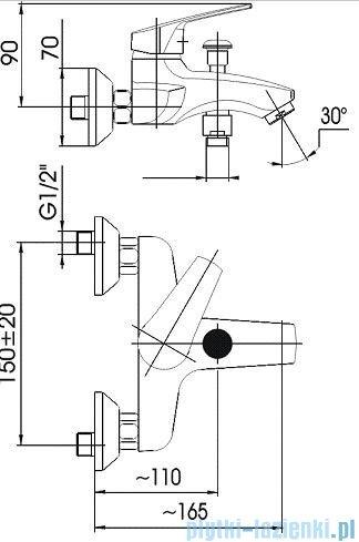 KFA RODON Bateria wannowa ścienna chrom 454-020-00