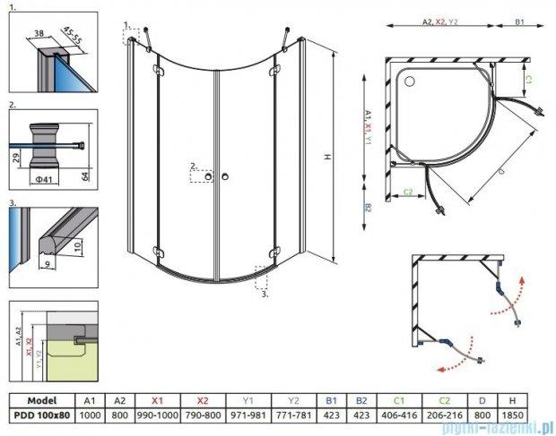 Radaway Torrenta PDD E kabina półokrągła 100x80 szkło przejrzyste + Brodzik Patmos E lewy + syfon 31640-01-01N