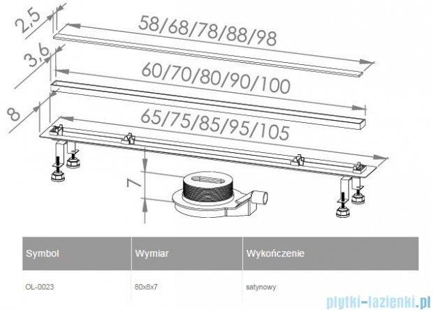New Trendy Lux Slim odpływ liniowy 80x8x7cm satyna OL-0023