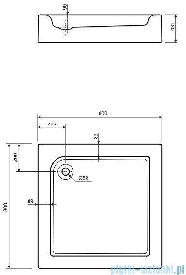 Koło Standard Plus Brodzik kwadratowy 80cm ze zintegrowaną obudową XBK1480000