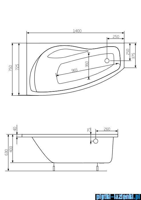 Roca Nicole wanna 140x75cm lewa z hydromasażem Smart WaterAir Plus A24T109000