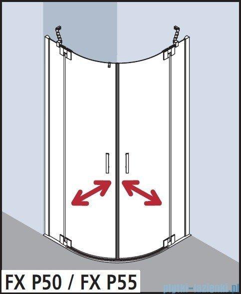 Kermi Filia Xp Kabina ćwierćkolista, drzwi wahadłowe, szkło przezroczyste KermiClean, profil srebro 90x200cm FXP5009020VPK