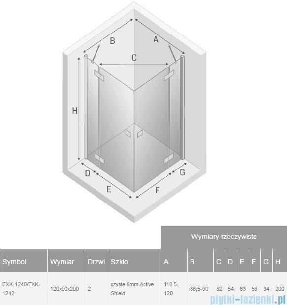 New Trendy Reflexa 120x90x200 cm kabina prostokątna przejrzyste EXK-1240/EXK-1242