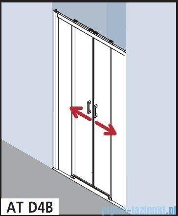 Kermi Atea Drzwi przesuwne bez progu, 4-częściowe, szkło przezroczyste z KermiClean, profile srebrne 140x185 ATD4B14018VPK