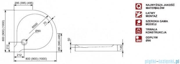 Aquaform Delta brodzik półokrągły płytki ze zintegrowaną obudową 90x90x14,5cm 06905