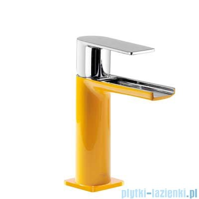 Tres Loft Colors Bateria umywalkowa z korkiem automatycznym wylewka kaskada otwarta kolor żółty 200.110.01.AM.D