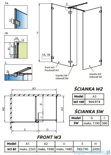 Radaway Euphoria Walk-in III kabina 80x100cm szkło przejrzyste 383130-01-01/383122-01-01/383160-01-01