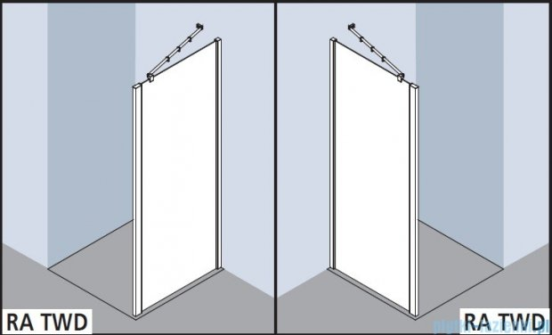 Kermi Raya Ściana boczna, szkło przezroczyste z KermiClean, profile srebrne 100x200 RATWD10020VPK